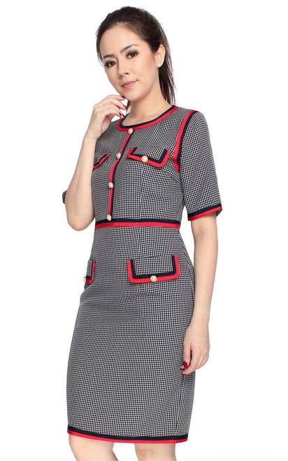 Contrast Trim Pencil Dress