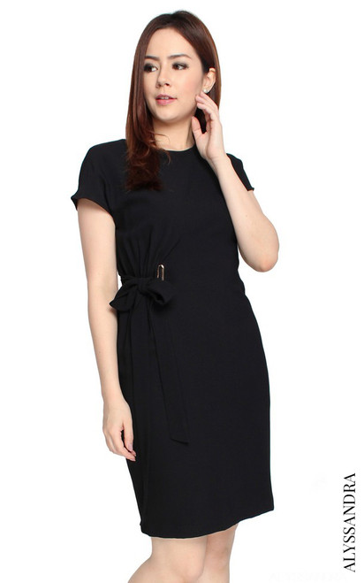 Side Tie Dress - Black