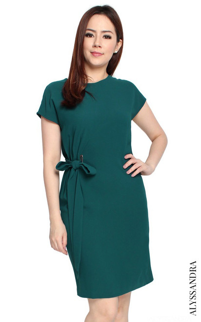 Side Tie Dress - Teal Green