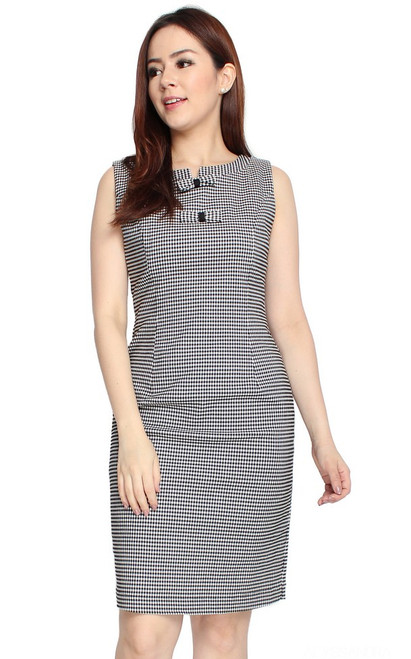 Bow Gingham Pencil Dress