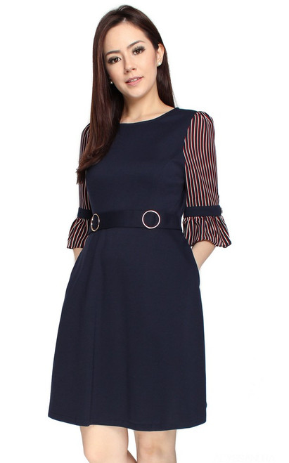 Striped Chiffon Sleeves Dress