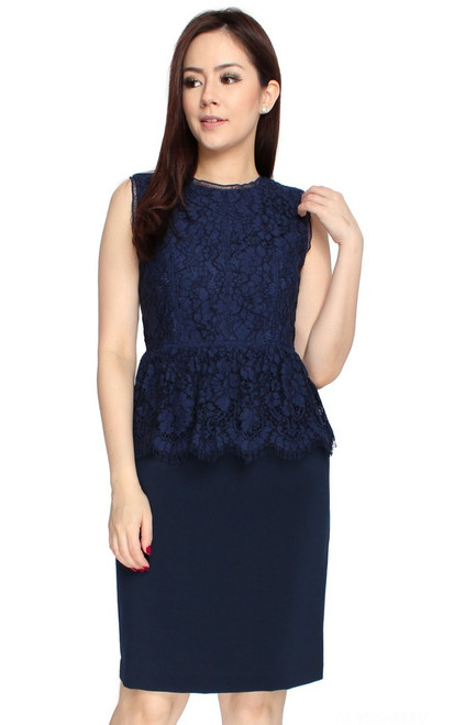 Lace Top Peplum Dress - Navy