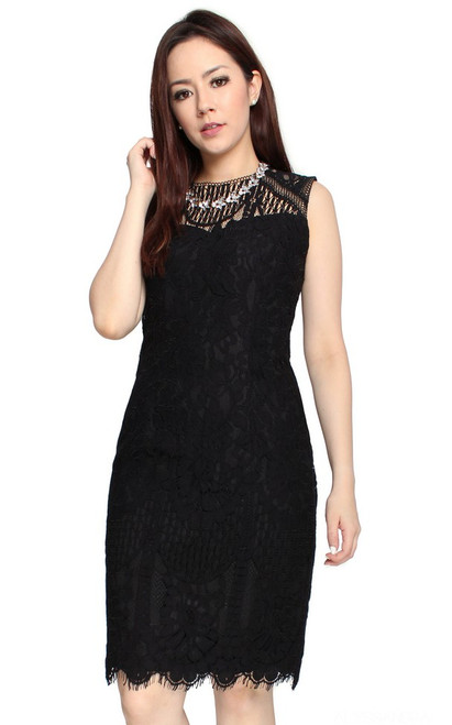 Lace Sheath Dress - Black