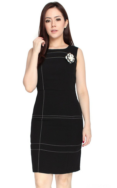 Contrast Stitch Pencil Dress