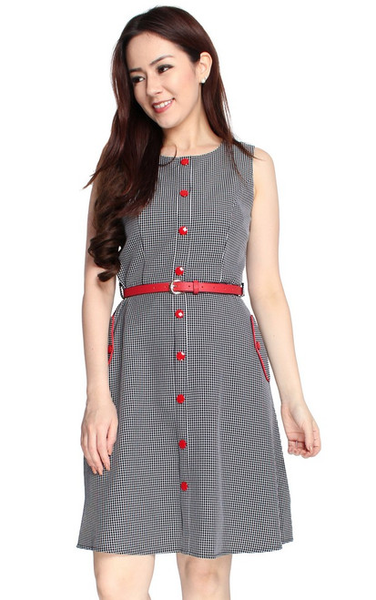 Red Buttons Dress