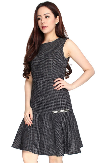 Pearl Tweed Mermaid Dress - Black