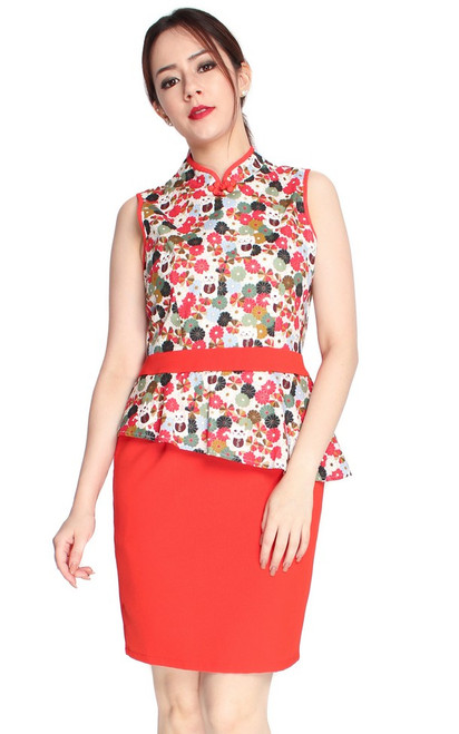 Peplum Cheongsam Dress - Vermillion