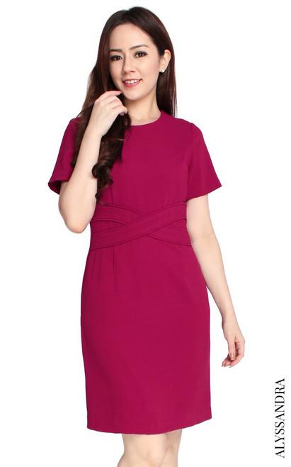 Criss Cross Waist Dress - Cranberry