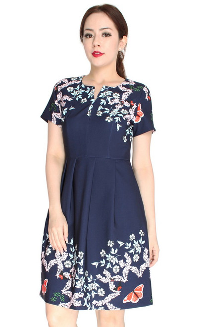 Gardens Notch Neck Dress - Navy
