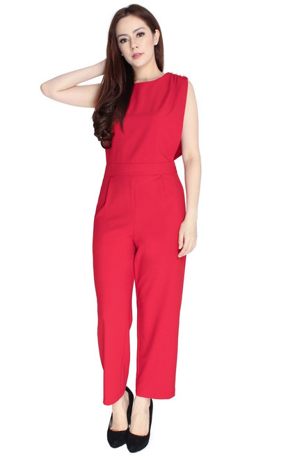 Pearl Studs Jumpsuit - Red