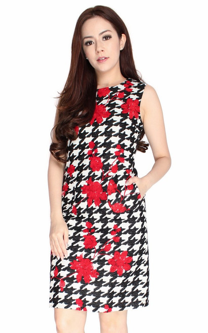 Floral Houndstooth Sheath Dress