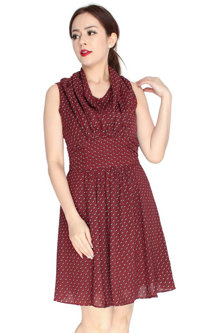 Puppies Pleated Dress - Mahogany
