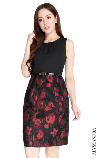 Brocade Bottom Pencil Dress - Black