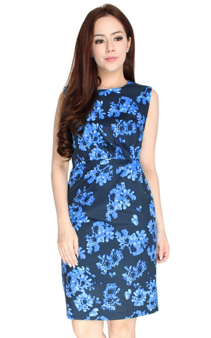 Ruched Printed Dress - Blue