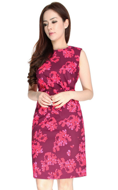 Ruched Printed Dress - Plum