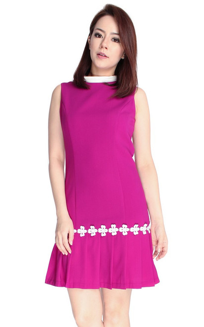 Crochet Trim Pleated Hem Dress - Magenta