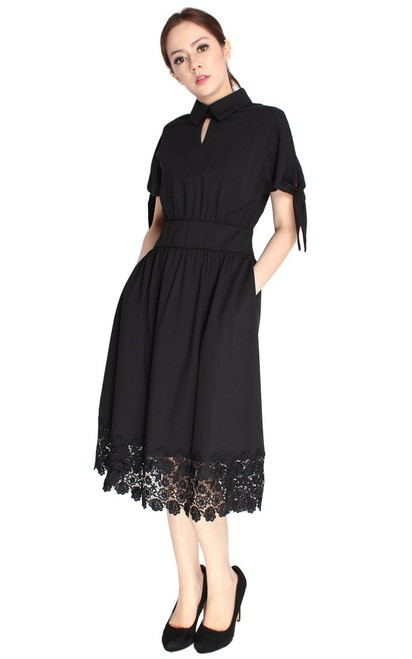 Crochet Hem Midi Dress - Black