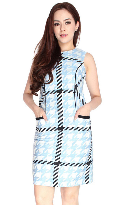 Houndstooth Pockets Dress
