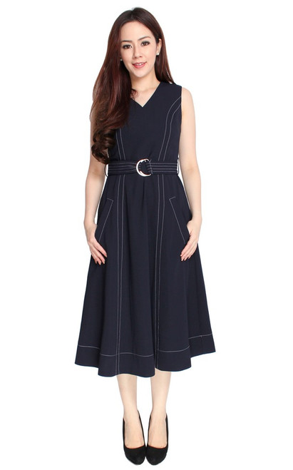 Contrast Stitch Midi Dress - Midnight Blue