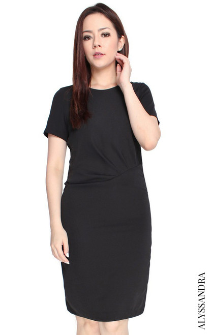 Side Ruched Dress - Black