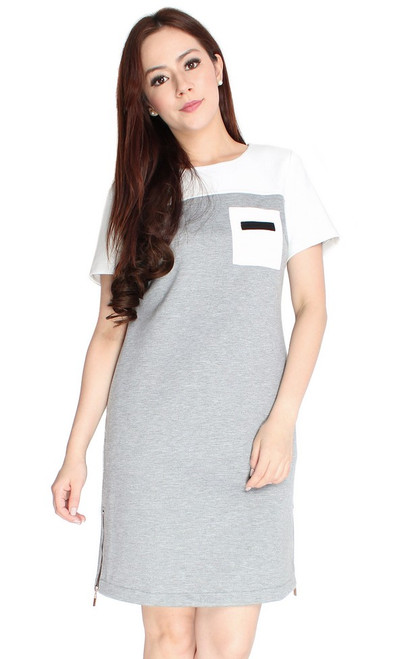 Colourblock Zipper Shift Dress - Heather Grey