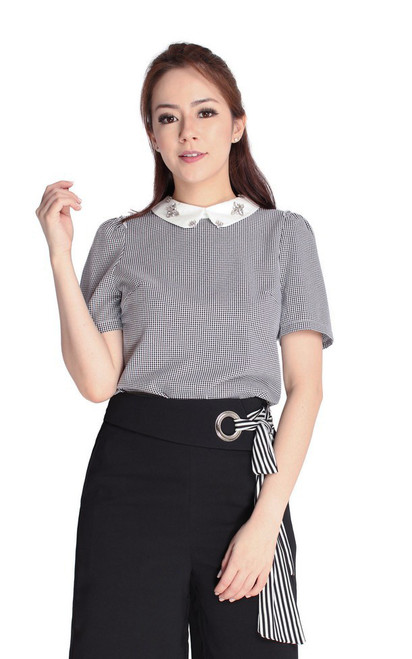 Bejewelled Collar Blouse - Black
