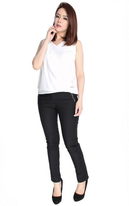 Side Drape Top - White
