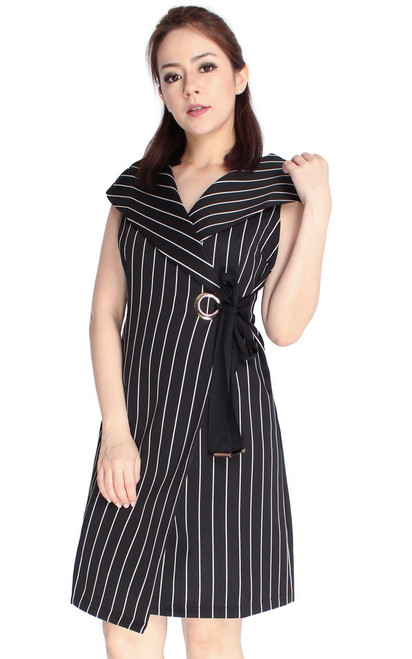 Striped Lapel Collar Dress