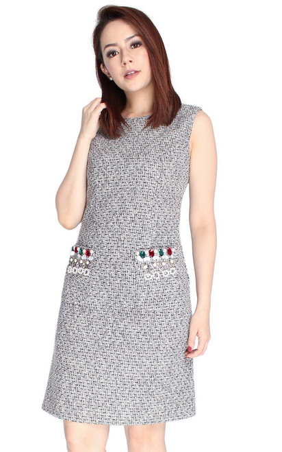 Bejewelled Pockets Tweed Dress - Black