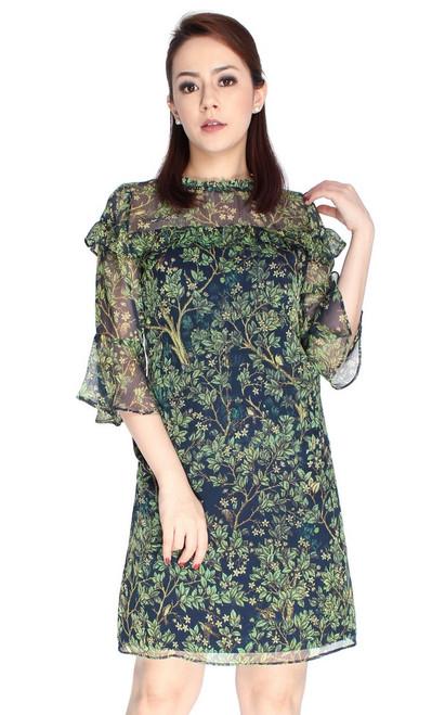 Printed Ruffle Babydoll Dress