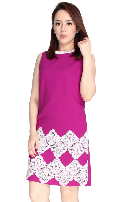 Lace Hem Shift Dress - Magenta