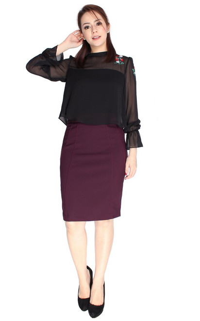 Contour Pencil Skirt - Deep Berry