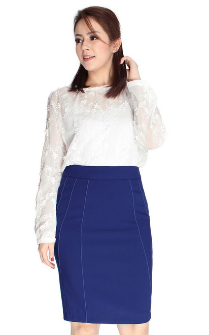Embroidered Lace Collar Top - White