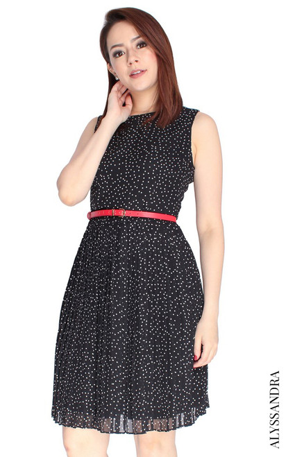 Polka Dot Pleated Dress - Black
