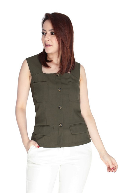 Buttons Top - Olive