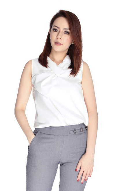 Twisted Bow Neck Top - White