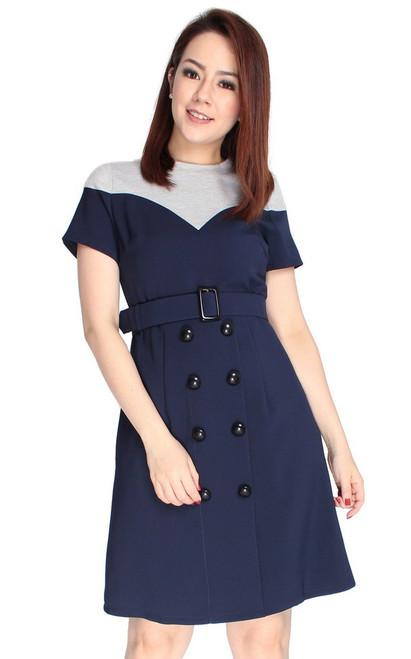 Colourblock Buttons Dress