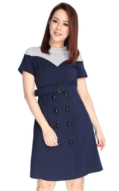 Colourblock Buttons Dress