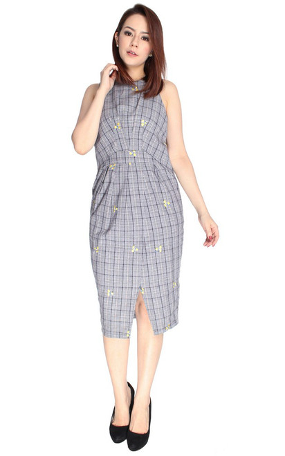 Embroidered Checks Tulip Dress