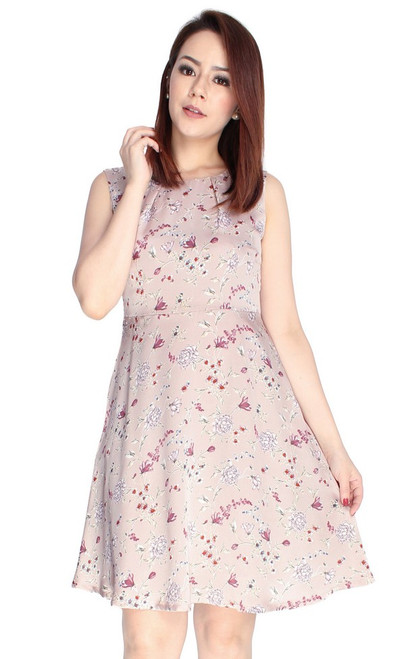 Floral Flare Dress - Pearl Pink