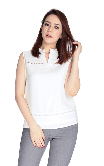 Ladder Trim Notch Neck Top - White