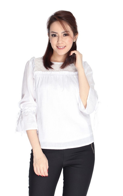 Eyelet Panel Tie Sleeves Top - White