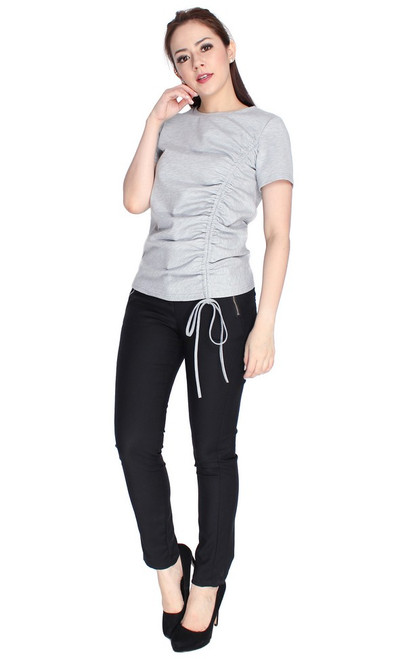 Side Ruched Top - Heather Grey
