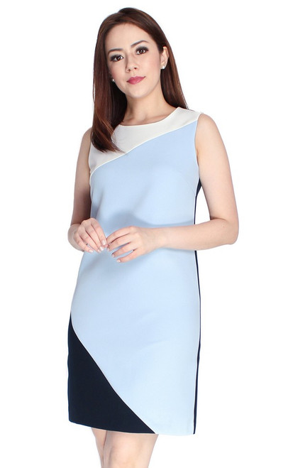 Colourblock Sheath Dress - Blue