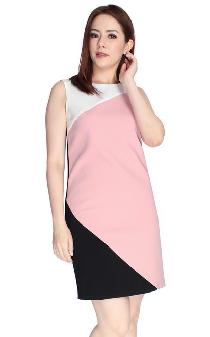 Colourblock Sheath Dress - Pink