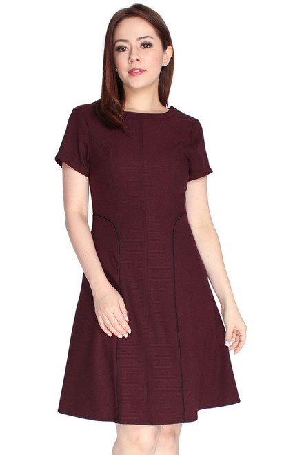 Mini Houndstooth Flare Dress - Wine