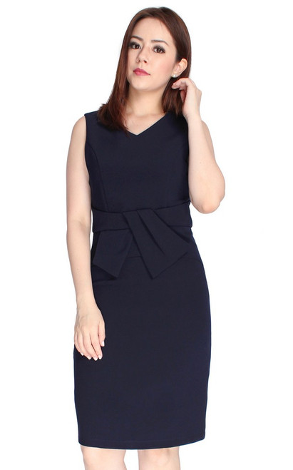 Bow Waist Pencil Dress - Midnight Blue