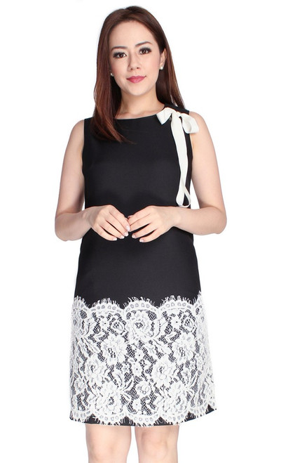 Lace Hem Shift Dress - Black