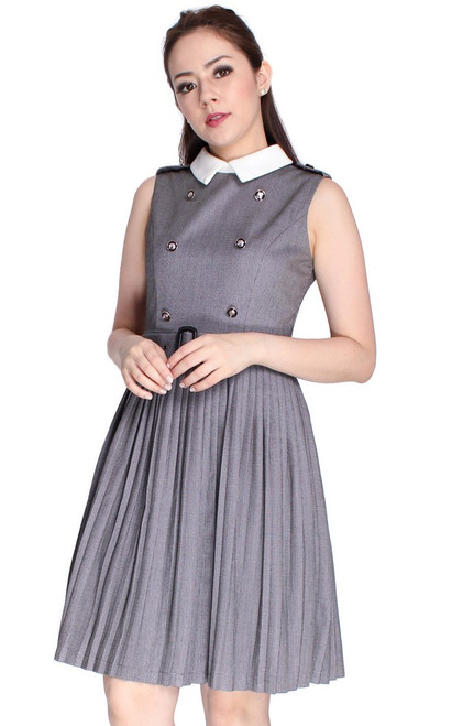 Double Breasted Pleated Dress
