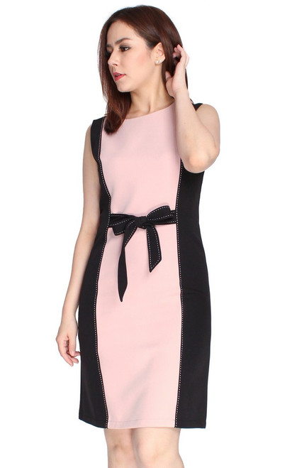 Tie Waist Contrast Pencil Dress - Pink